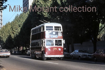 Johannesburg, South Africa, trolleybus dated 29/3/77 BUT 1st series 1948 Fleet no. 579 Route 20B [Mike Morant collection]