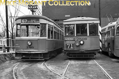 Cincinnati Street RailwayCars 186, a 1928-built Peter Witt and 2506, a 1926-built curved side lightweight (ex-Maumee Valley Railway, Toledo, Ohio), just outside the Hyde Park car barn, with both Marmon-Herrington and St. Louis Car Co.-built trolley buses just to the side of the photo.  Car 2506 is being used on a fan trip and is signed for Route 71, a line abandoned in 1936.  Photo taken in 1950.CAPTION TEXT KINDLY SUPPLIED BY CLIFF SCHOLES.