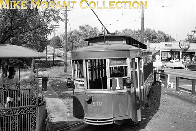Cincinnati Newport & Covington Railway Car 518 and private car 'Kentucky' in the South Fort Mitchell, Kentucky, loop at Dixie Highway and Orphanage Rd., later the site of a Frisch's Drive In and now the location of a small shopping area. Photo was taken on a fan trip, July 2, 1950, the day after abandonment of trolley service by the Company. CAPTION TEXT KINDLY SUPPLIED BY CLIFF SCHOLES & MICHAEL LINEHAN.