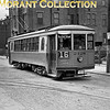 """<b>Cincinnati Street Railway</b><br>Car 2428, a 1923 Cincinnati Car Co. built curved side lightweight on Winchell Avenue in front of the Brighton car barn.  Car is on a fan trip and is signed for Route 16-Colerain/Chester Park, a line abandoned June 13, 1948, and carries the small sign of C&LE Connection, though that Company's operation had been abandoned in 1938.  Photo was taken in 1951.  All the buildings in the background have been demolished as Interstate Highway 75 now occupies that space.<br><font size=""""1"""">CAPTION TEXT KINDLY SUPPLIED BY CLIFF SCHOLES.</font>"""