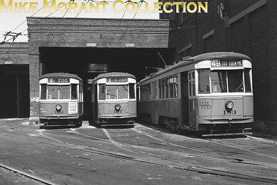 Cincinnati Street RailwayCars 162, 197 and 183, 1928-built Peter Witt, just outside the Vine Street car barn.  Photo taken in 1950.CAPTION TEXT KINDLY SUPPLIED BY CLIFF SCHOLES.