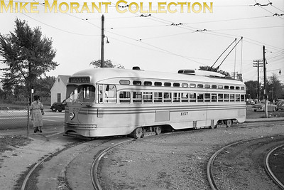 Cincinnati Street RailwayCar 1157, a 1947 St. Louis Car Co. built PCC in the loop at the end of Route 35-Warsaw/Price Hill at Glenway Avenue and Ferguson Road.  Photo taken in 1949.CAPTION TEXT KINDLY SUPPLIED BY CLIFF SCHOLES.