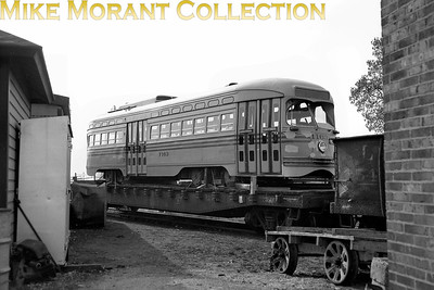 Cincinnati Street RailwayCar 1163, a 1947-built St. Louis Car Co. PCC, mounted on a flat car for transportation to Toronto.  Photo taken in 1950.CAPTION TEXT KINDLY SUPPLIED BY CLIFF SCHOLES.