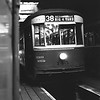 """<b>Cincinnati Street Railway</b><br>Car 145, a 1928-built Peter Witt, inside the Brighton car barn.  Photo taken in 1948.  The car is signed for Route 38-Sedamsville/Big 4 Yard, a route abandoned in 1937.<br><font size=""""1"""">CAPTION TEXT KINDLY SUPPLIED BY CLIFF SCHOLES.</font>"""