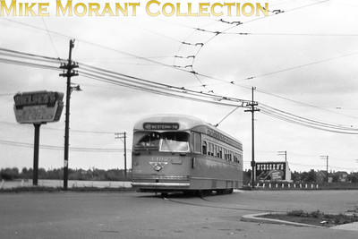 Chicago Transit AuthorityCar 4102, a 1946 St. Louis Car Co. built PCC turning off Western Avenue into the loop at 79th Street, the south end of Route 49-Western Avenue.  Photo taken July 1947.CAPTION TEXT KINDLY SUPPLIED BY CLIFF SCHOLES.