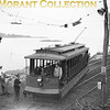 """<b>Connecticut Company</b><br>Car 1412, a 1911 Osgood-Bradley Co. built 15-bench open car on a fan trip at almost certainly Short Beach CT, a few hundred yards from the present end-of-track of the Shore Line Trolley Museum, Branford CT, whose present right-of-way was originally part of this line to Short Beach and beyond.  Photo taken in 1947.<br><font size=""""1"""">CAPTION TEXT KINDLY SUPPLIED BY CLIFF SCHOLES.</font>"""