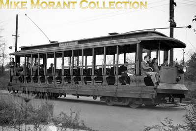 Connecticut CompanyCar 1412, a 1911 Osgood-Bradley Co. built 15-bench open car on a fan trip somewhere in the New Haven area.  Photo taken in 1947.CAPTION TEXT KINDLY SUPPLIED BY CLIFF SCHOLES.