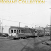 "<b>Cleveland Transit System</b><br>Car 480, a Peter Witt, and trailer 2489, both 1920 G. C. Kuhlman Co. built cars on Detroit Avenue at Bunts Road in Lakewood, a suburb of Cleveland.  Photo taken March, 1946.<br><font size=""1"">CAPTION TEXT KINDLY SUPPLIED BY CLIFF SCHOLES.</font>"