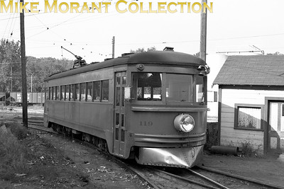 Cedar Rapids & Iowa CityLightweight interurban car no. 119, one of the  ex-Cincinnati & Lake Erie highspeed cars that were nicknamed Red Devils and built by the Cincinnati Car Co. in 1930, with the original number retained by CRANDIC and captured on film at the Cedar Rapids car barn and yard.CAPTION TEXT KINDLY SUPPLIED BY CLIFF SCHOLES.