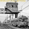 <b>Pacific Electric (MTA)</b><br> Car no. 1800 passing Watts Tower, Los Angeles CA in 1960.<br> [R. E. Field / <i>Mike Morant collection</i>]
