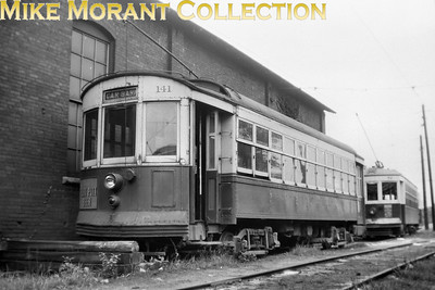 Altoona & Vogan Valley Electric RailwayCar 141, a 1914 J. G. Brill Co. Built turtle-roof car alongside the Fifth Avenue car barn in 1946.CAPTION TEXT KINDLY SUPPLIED BY CLIFF SCHOLES.