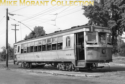 Dayton (City Railway Co.)Cincinnati curve sided lightweight car no. 662. This photo was taken on Elmhurst Road at Second Street in the Residence Park section of Dayton.  The loop at the end of the line is behind the car, note the trolley wire at the top of the photo and the steel support pole to the left-rear of the car.CAPTION TEXT KINDLY SUPPLIED BY CLIFF SCHOLES.