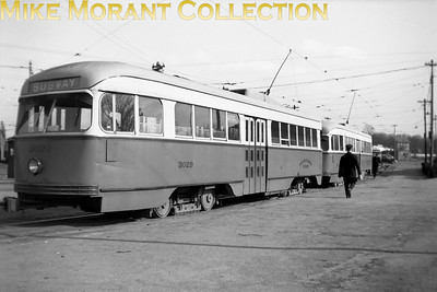 Boston Elevated RailwayCar 3029, a 1944 Pullman-standard built PCC, mu with another PCC at Arborway car yard.  Photo taken 1946.CAPTION TEXT KINDLY SUPPLIED BY CLIFF SCHOLES.