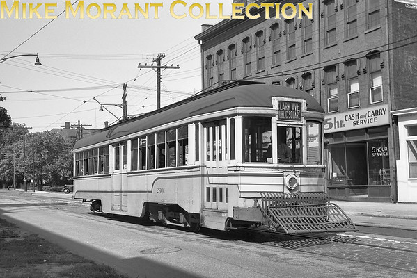 """<b>Cleveland Transit System</b><br>Car 260, a 1916 G. C. Kuhlman Co. built Peter Witt on Franklin Boulevard at West 25th Street.  Photo taken 1950.<br><font size=""""1"""">CAPTION TEXT KINDLY SUPPLIED BY CLIFF SCHOLES.</font>"""