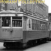 "<b>Knoxville Street Railway</b><br>Car 372, a 1928 Cincinnati Car Co. built curved-side lightweight, the last car in the final order for this style car by KSRy.  The cars were scrapped after abandonment of the system, August 1, 1947.  Photo taken in 1946 in downtown Knoxville.<br><font size=""1"">CAPTION TEXT KINDLY SUPPLIED BY CLIFF SCHOLES.</font>"