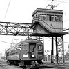 <b>Pacific Electric (MTA)</b><br> Red car no. 1519 near Watts CA on the Los Angeles-Long Beach run in September, 1959.  Note the motorman giving a big wave.<br> [R. E. Field / <i>Mike Morant collection</i>]