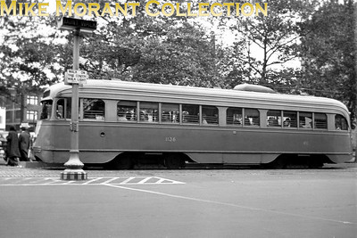 Capital Transit (Washington, DC)car 1136, a 1937 St. Louis Car Co. built PCC on Pennsylvania Avenue, NW.  Car was scrapped 13 May, 1963. Photo taken 1948.CAPTION TEXT KINDLY SUPPLIED BY CLIFF SCHOLES.