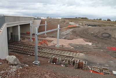 Gogar - main line nearest the camera - ballasted depot roads further away.