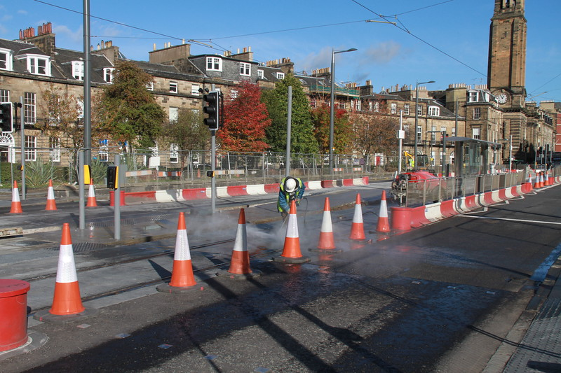 Shandwick Place is open again for buses, but the work continues at the Princes Street - West End