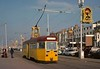 One-man tram 9, on the promenade near the south shore, Blackpool, Sat 18 October 1975.  Rebuilt English Electric railcoach, in old livery.  Photo by Les Tindall.
