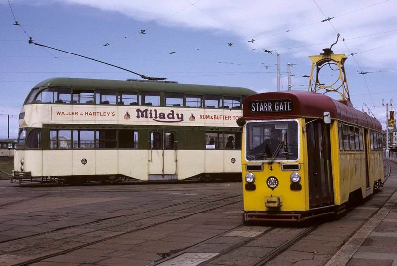 One-man tram 4 & unidentified balloon car, Blackpool, Sun 12 August 1973.  At the turning loop at Pleasure Beach.  Photo by Les Tindall.