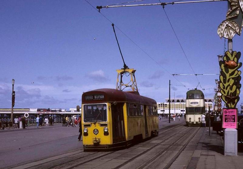 One-man tram 3 & balloon car 718, Blackpool, Sun 12 August 1973.  Photo by Les Tindall.