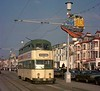 Balloon car 716 bound for the pleasure beach, Blackpool, Sat 18 October 1975.  Note the topical picture of the BR class 87 electric loco on the lamp post; they had just entered traffic.  Photo by Les Tindall.