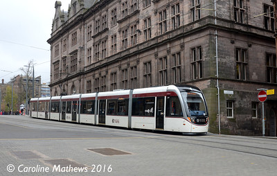 Edinburgh Trams 277, North St Andrew Square, Edinburgh, 7th May 2016