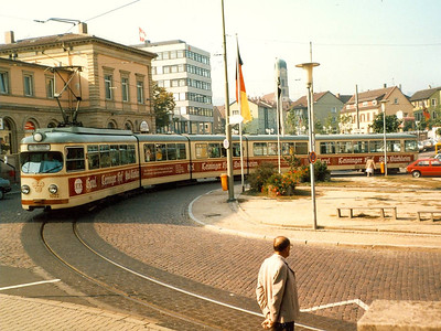 Not Heidelberg: I stayed overnight in Bad Durkheim, terminus of the Rhein-Haardtbahn (RHB). At the time, the RHB had the longest trams in the world, of which 1022 is an example. It is a 12 axle single ended articulated car built by Duewag and is seen on the turning circle in Bad Durkheim.