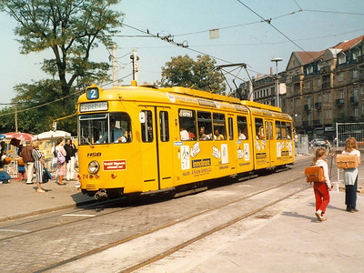 Another of the 1964 cars seen in Bismarkplatz was 214, wearing an advertising livery.