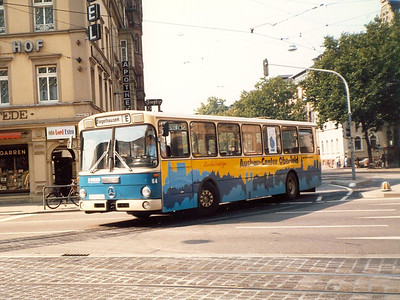 HSB bus 64 turning from Bergheimerstrasse into Rohrbackerstrasse.