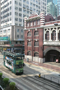 No 17 is pictured passing Western Market as it turns onto Connaught Road West, Sheung Wan with a service to Kennedy Town on 22/11/2004.