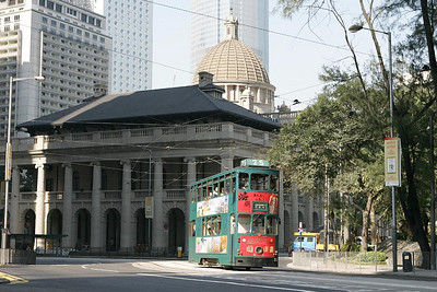 No 25 works a Shaukeiwan service past the Legislative Council Building in Central district on 20/11/2004.