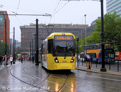 Metrolink 3086, Piccadilly Gardens, 6th September 2014