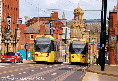 Metrolink 3019 and 3050, Union Street, Oldham, 26th April 2014
