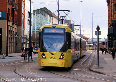 Metrolink 3009, Lower Mosley Street, 26th April 2014