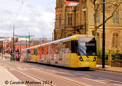 Metrolink 3041, Union Street, Oldham, 26th April 2014