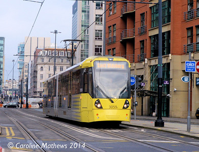 Metrolink 3059, Lower Mosley Street, 6th December 2014
