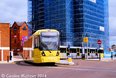 Metrolink 3059 and 3058, Rochdale, 26th April 2014
