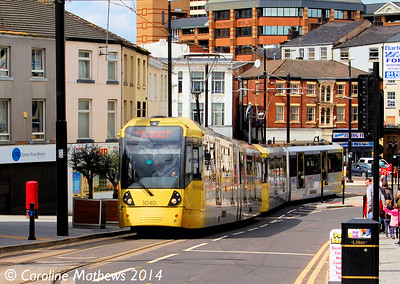 Metrolink 3040 and 3052, Drake Street, Rochdale, 26th April 2014