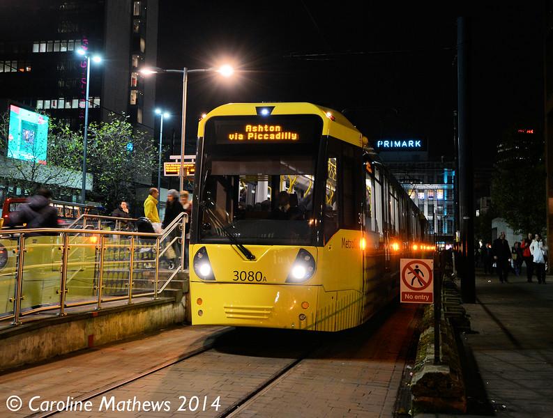 Metrolink 3080, Piccadilly Gardens, 6th December 2014