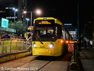 Metrolink 3080, Piccadilly Gardens, 6th December 2014