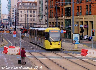 Metrolink 3016, Lower Mosley Street, 6th December 2014
