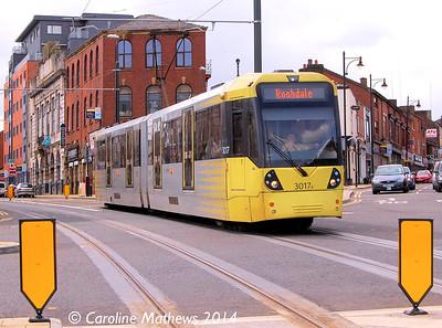 Metrolink 3017, Oldham Mumps, 26th April 2014