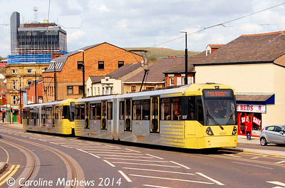 Metrolink 3037 and 3039, Drake Street, Rochdale, 26th April 2014