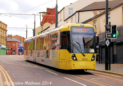 Metrolink 3054, Drake Street, Rochdale, 26th April 2014