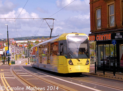 Metrolink 3046, Union Street, Oldham, 26th April 2014