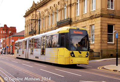Metrolink 3015, Union Street, Oldham, 26th April 2014