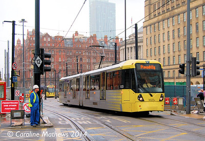Metrolink 3023, Mosley Street, 6th September 2014