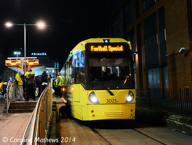 Metrolink 3025, Piccadilly Gardens, 6th December 2014